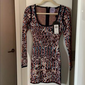 BNWT Herve Leger scoop neck dress sz small